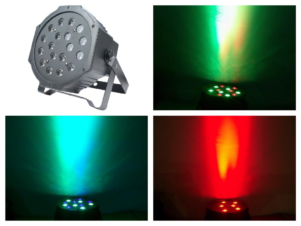 20pcs / Lot, Slim LED par Light 18W RGB Par64 Flat Lights Christmas disco club night party dj rgb stage Equipment DMX