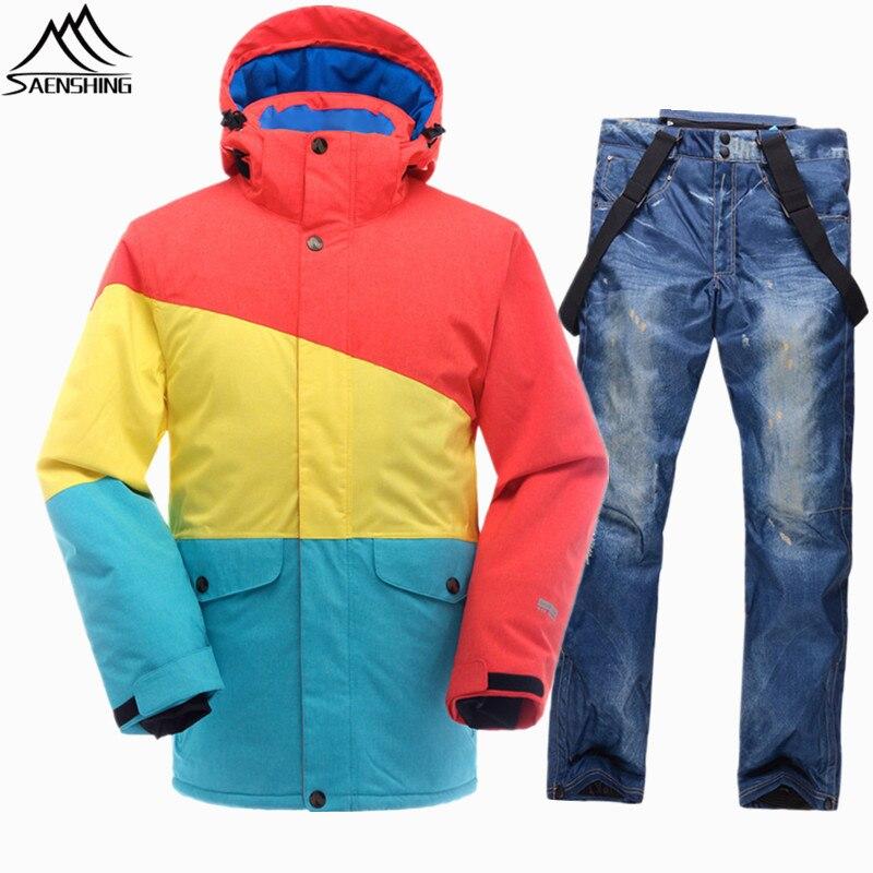 SAENSHING Brand Ski Suit Men Snowboarding Suits Waterproof Windproof Ski Jacket Snowboard Snow Set Super Warm