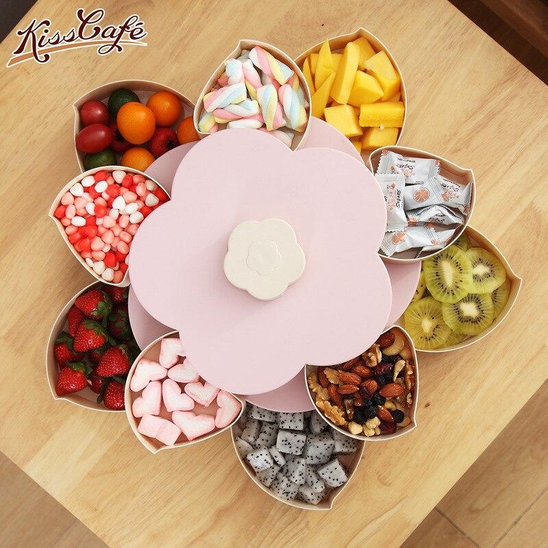 Creative Rotary Snack Candy Storage Box Jewelry Box Organizer Cosmetic Solid Fruit Storage Box Double-deck Flower Design Box