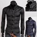 Limitada quente Camisas Casuais de Algodão Batik Completa Vender 2015 Sizem-Xxxxxl Escuro para Grain Diamante Malha dos homens de Manga Longa camisa