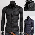 Venta Limitada caliente Camisas Casuales de Algodón Batik Completa 2015 Sizem-Xxxxxl Oscuro para el Grano de Diamante del Enrejado de Los Hombres de Manga Larga camisa