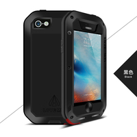 For iPhone 5S Case, Original Love Mei Metal Aluminum Powerful Case For iPhone SE/5SE/5S Whockproof Cover withTempered Glass