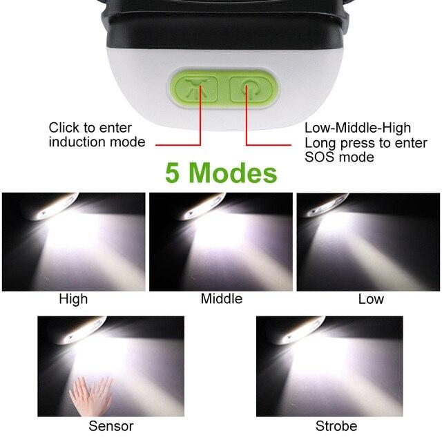 XPE 방수 모션 센서 헤드 토치 손전등 5W 미니 LED 전조 등 낚시 헤드 라이트 캠핑 하이킹 밤 낚시 빛