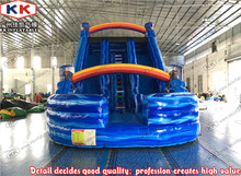 Custom Wave Dual Lane Inflatable Curve Dry Slide With bouncer land