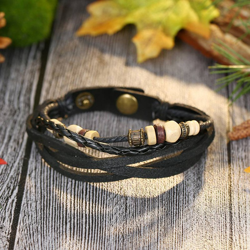 Handmade Retro Genuine Leather Woven Charm Bracelet Men Vintage Braided Bracelets Bangles Male Jewelry