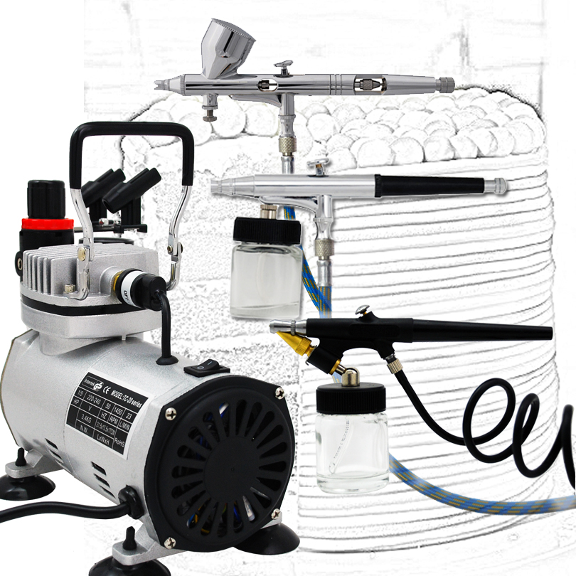Colopaint Body Art Airbrush Vernice Kit 3 Compressore del Airbrush Kit Dual Action Spray Airbrush Set Per Fine Art, nail art Colori per il corpo