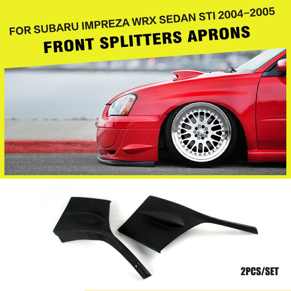 PU Black Front Bumper Splitters Side Chin Lips Cupwings Flap Fit for Subaru Impreza WRX Sedan STI 2004-2005 Car Styling 2PCS/Set