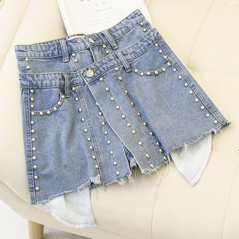 Jeans Short Skirt Summer 2019 New High Waist A shaped Irregular Shorts Woman Studded Rivet Short Jean Women Slim Denim Shorts