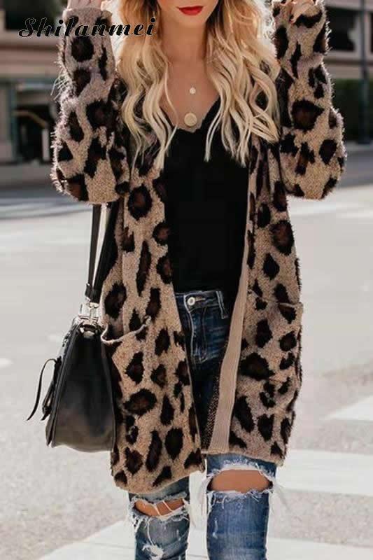 Rabbit Fur Coat Jacket Women Winter Long Cardigan Sexy Fur Jackets Casual Loose Leopard Overcoat Outdoor Wear Women Clothing