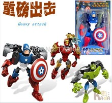 2015 New Movie&Tv Avengers Captain America hulk Iron man plastic Doll model, the Action Figures building blocks Toy Gifts WJ012