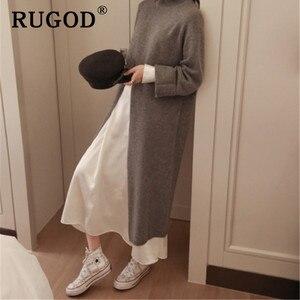 Image 2 - RUGOD Ins new fashion high split women sweater turtleneck Long sleeve warm wintere pullovers female Korean long style streetwear