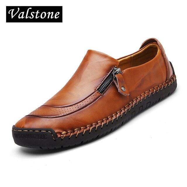 Valstone Mùa Xuân 2019 Da Giày casual Nam chất lượng handmade Cho Nữ Vintage Mocassins trơn trượt trên Cao Su bãi Khóa Kéo mở Hombre