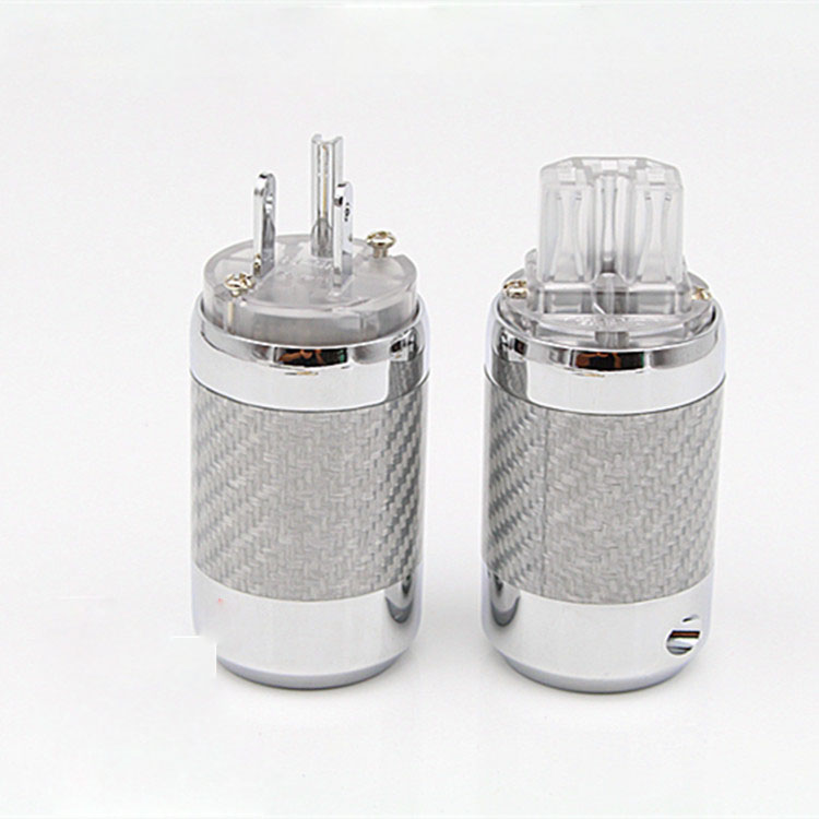 HI-End Carbon Fiber Rhodium Plated US Power Plug IEC Connector Pair free shipping one pair rhodium plated us mains power plug carbon fiber connector cable cord
