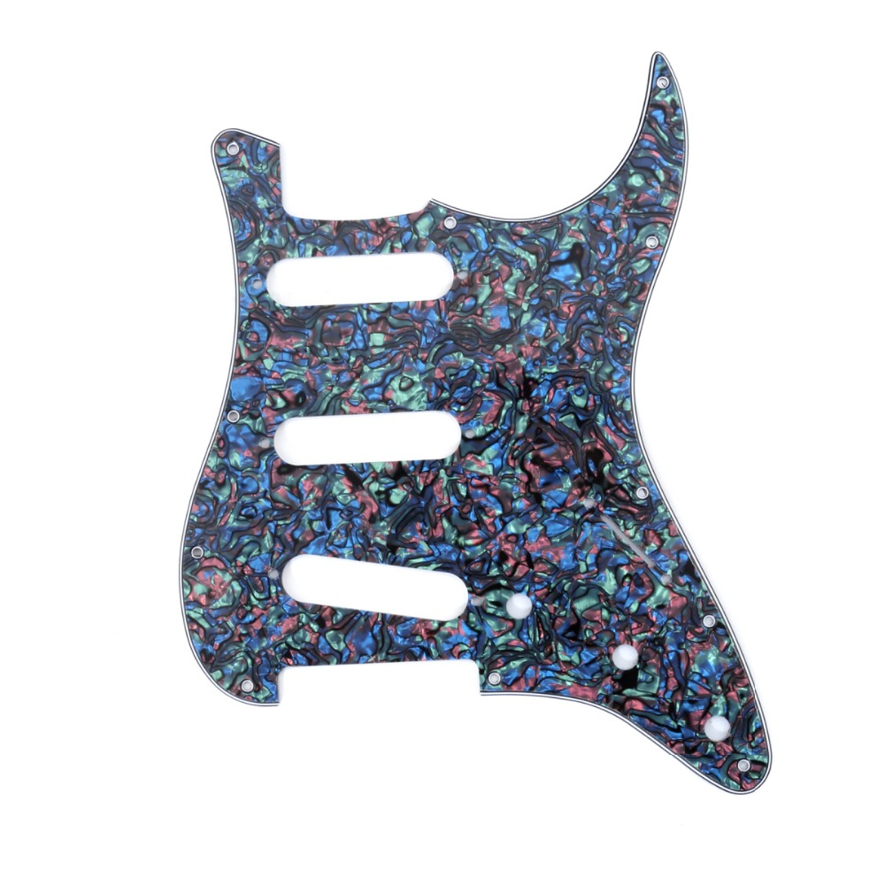 Musiclily 4Ply 11 Hole Strat SSS Pickguard Pick Guards Scratch Plate for Fender Standard Stratocaster Strat ST Guitar Parts musiclily 4ply sss pickguard for fender standard stratocaster strat st guitar