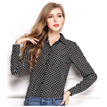 Ropa barata de china blusas mujer blusas tops blusa femininas blusa de gasa ropa mujer chemise femme manga larga lunares nueva