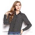 Roupas baratas china blusas mulheres blusas tops blusa blusa femininas chiffon chemise femme ropa mujer Polka dots manga longa novo