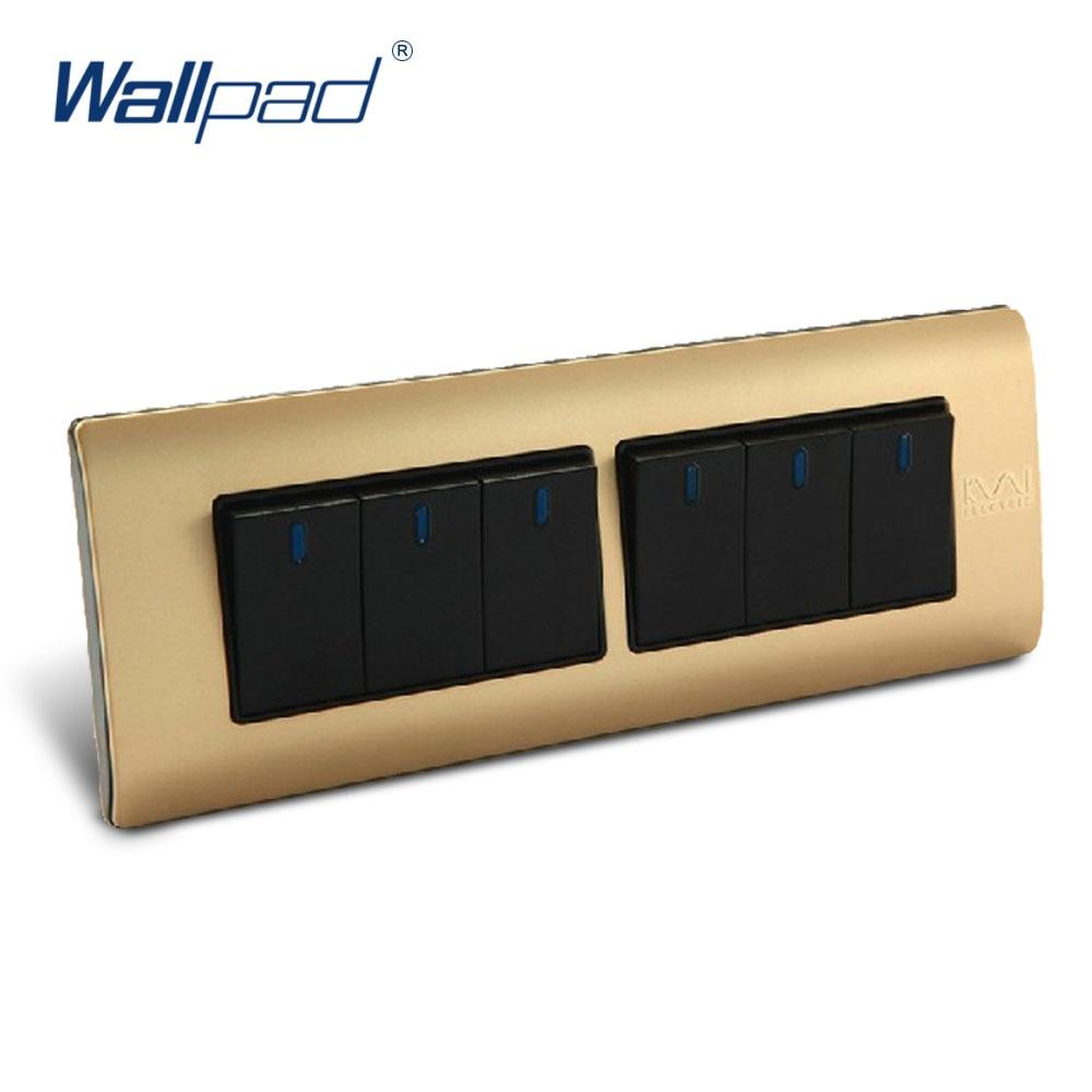 Free Shipping, Wallpad Luxury Wall Switch Panel, 6 Gang 2 Way Switch, Plug, Socket, 197*72mm, 10A, 110~250V  free shipping wallpad luxury wall switch panel 6 gang 2 way switch plug socket 197 72mm 10a 110 250v