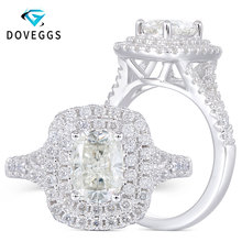 DovEggs Sterling Solid 925 Silver Center 1ct 5*7mm Cushion Cut HI Color Moissanite Party Halo Engagement Ring with Accents