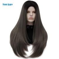 Ваш Стиль 11 Цвета Синтетический Длинные прямые Ombre серый 613 платиновый блондин фиолетовый афро парики для черный Для женщин термостойкие во...