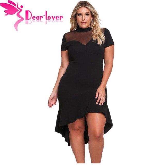 b4167fe3347 Dear Lover Office Dress Plus Size Short Sleeve Mesh Insert Ruffled Hi-low  Hem Curvy Dress Oversize Big Women Vestido mujer 61661