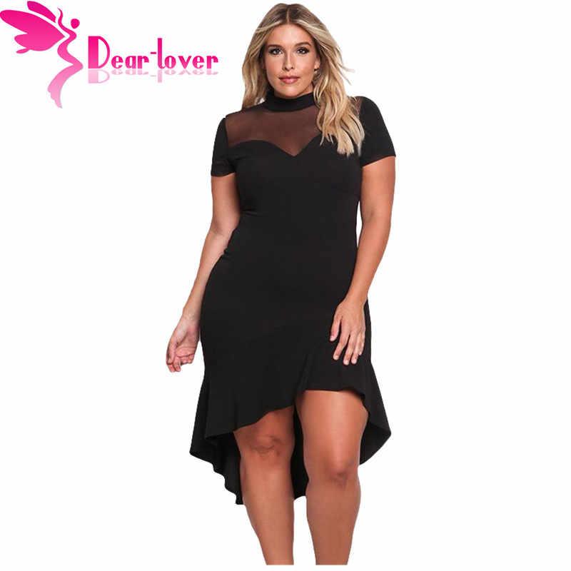 263e18ce3e Dear Lover Office Dress Plus Size Short Sleeve Mesh Insert Ruffled Hi-low  Hem Curvy