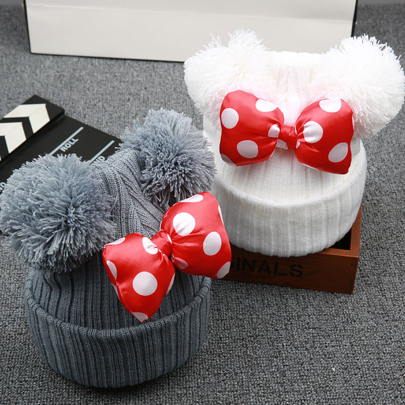 Cute Dot Cartoon Big Bow Baby Cap Hat Kids Knit Cotton Beanie Autumn Winter Warm Girls Double Pompom Hats