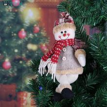 Cute New Year Merry Christmas Tree Decorations Seat Ornaments Santa Claus Snowman Dolls Pendant Deer Home Decoration