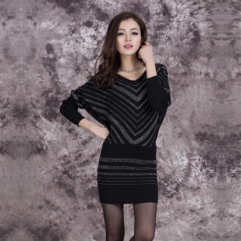 2017 Winter Fashion Women Christmas Sweater Female Long Batwing Sleeve stripe Patchwork Pullover Loose Sweaters Pull Femme ...