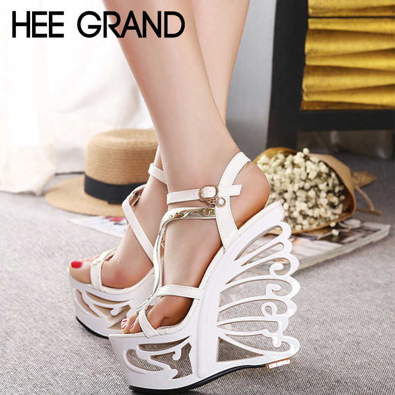 HEE GRAND Female 14cm Heels Retro Wedge Sandals Wholesale Sexy High-heeled Shoes All-match Nightclub Mujer Shoes XWZ4904