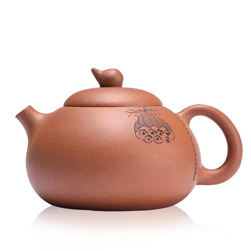 240 ml fait à la main Jiangsu Yi Xing Xian Zhi théière en argile pourpre avec dosette de graines de la peinture de Lotus théière de thé blanc bouilloire