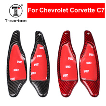 цена на Car Styling Real Carbon Fiber Steering Wheel Shift Paddle Extension Shifter For Chevrolet Corvette C7 Interior Inner Decoration