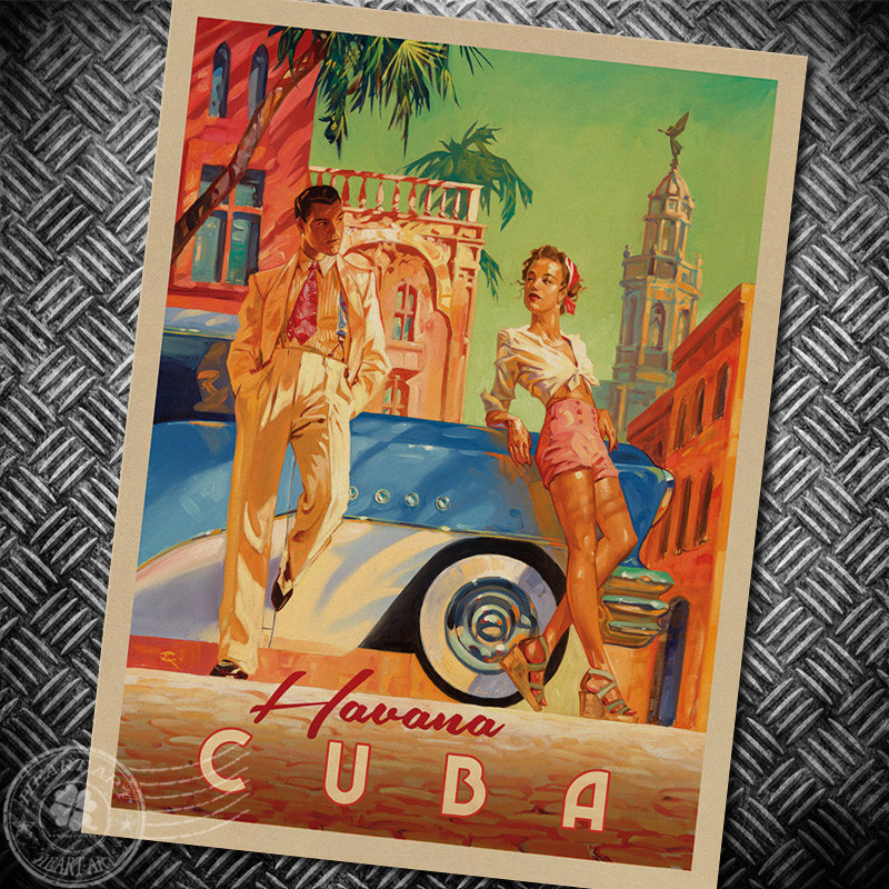 World City Havana Cuba Vintage Poster Design Krafts Paper