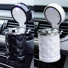 Blue LED Light Car Ashtray Fireproof Material Easy Clean Car Ashtray Fit Most Auto Car Cup Holder Car Accessories