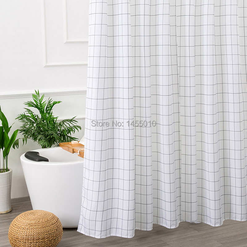 Happy Tree Polyester Classic Black White Plaid Shower Curtain Thicken Fabric Bathroom Curtain Classic Styles Bath Curtain in Shower Curtains from Home Garden