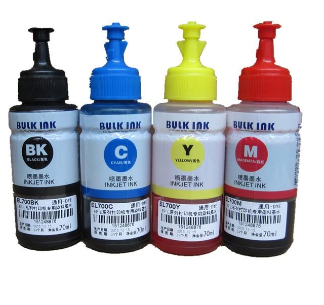 Чернилами OEM 4 цветов пополнения чернил комплект 70 мл для Epson L100 L110 L200 L210 L300 L355 L120 L130 L1300 L220 L310 L365 L455 L550 L565