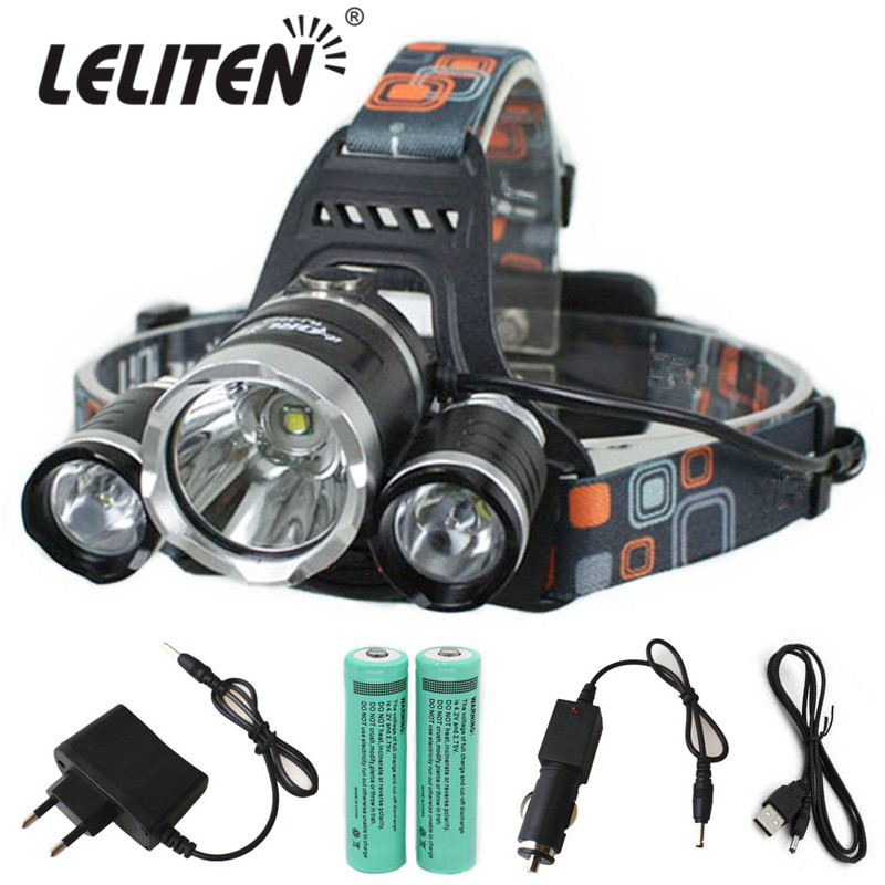 3x CREE XML U2 LED 6000 Lm Headlight Headlamp Head Lamp Light Flashlight 18650+2*battery+AC/Car charger go-kart