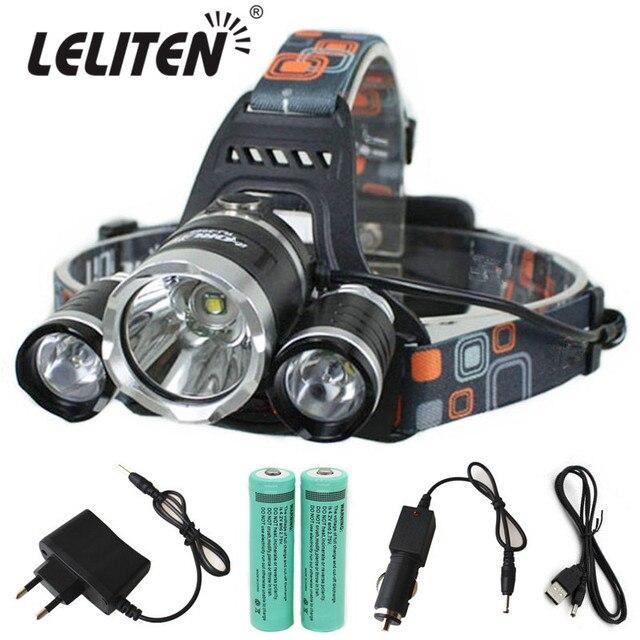 15000Lm XM-T6x3 LED Faro Del Faro DELLO ZOOM Torcia Della Torcia Elettrica di Campeggio di Pesca Faro lanterna + 2*18650 Batteria + Car/AC /Cavo del caricatore + USB
