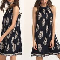 Summer Beach Womens Halter Boho Dress Floral Printed Dark Blue Sleeveless Loose Mini Bohemian Dresses Women