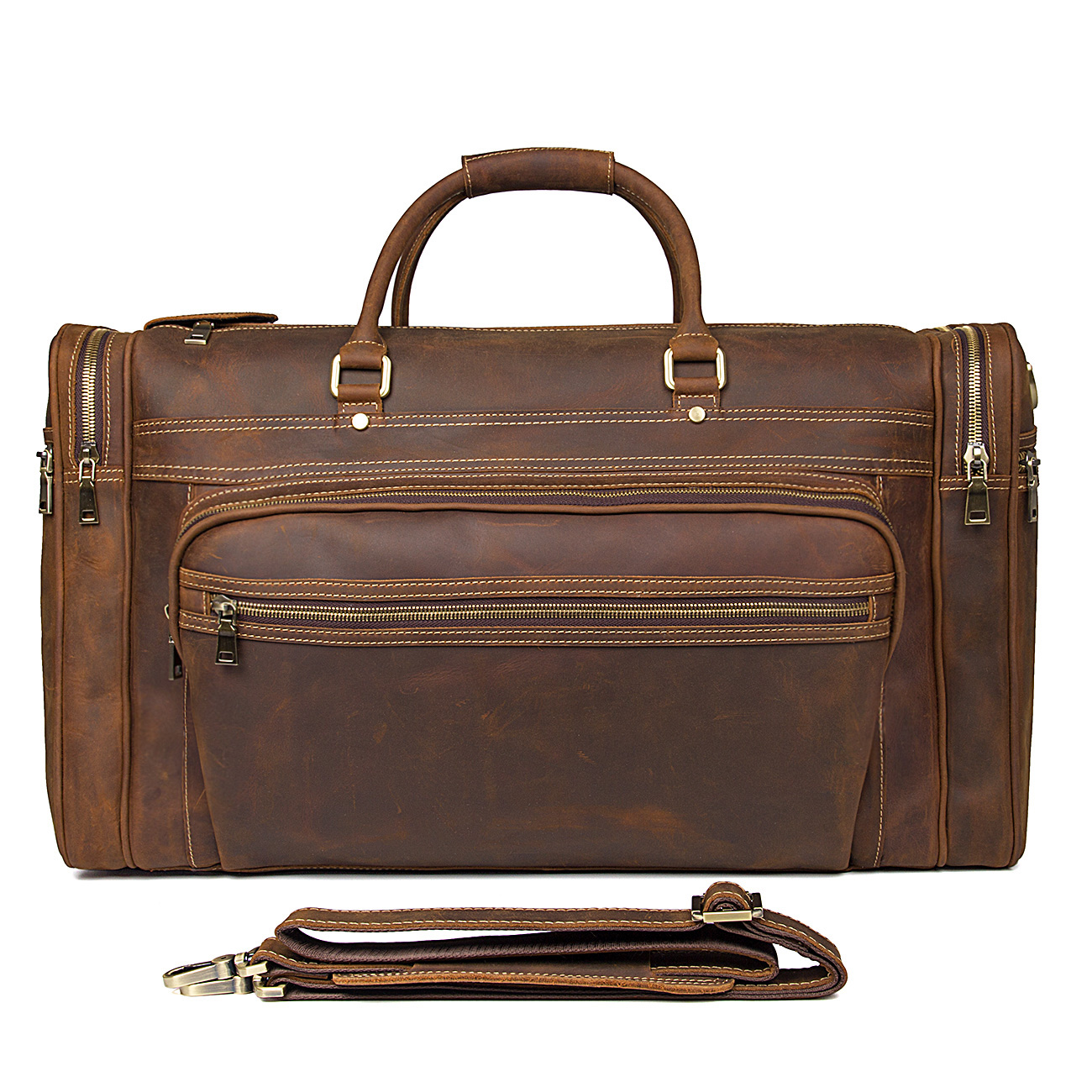 Augus Excellent Vintage Genuine Leather Duffle Bag Large Capacity Casual Tote Bag Classic Business Travel Laptop Bag 7317LR in Top Handle Bags from Luggage Bags