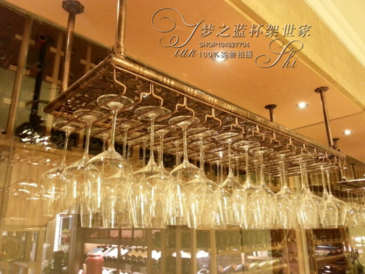 Porte-vin en fer de qualité supérieure pour bar support de verre à vin support de verre mural pour bar à vin 60 cm (L) 35 cm (W) décoration de la maison décor de bar