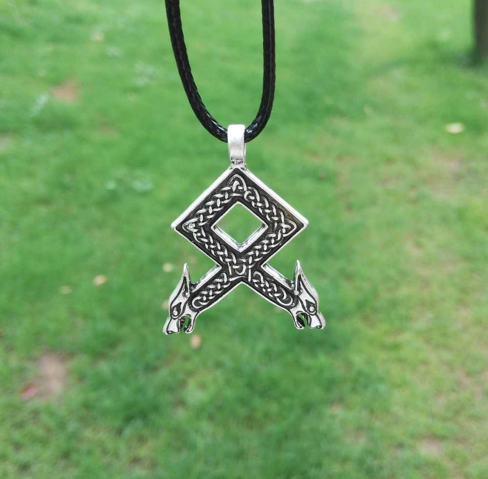 LANGHONG 1pcs Norse Vikings Rune pendant Necklace Odal with Wolf Heads Norse Vikings Runes Runic Pendant  Necklace 25*38mm