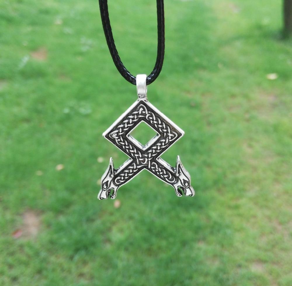 LANGHONG 1ks Norse Vikings Rune přívěsek náhrdelník Odal s vlčími hlavami Norse Vikings Runes Runic přívěsek náhrdelník 25 * 38mm