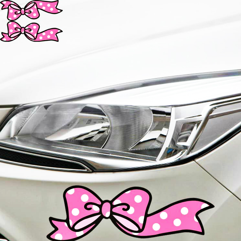 Volkrays 2 X Car Accessories Pink Bow <font><b>Styling</b></font> Car Stickers Decal Decoration for Motorcycle <font><b>Volvo</b></font> Xc90 S60 S80 S40 <font><b>V50</b></font> Xc70 V40 image