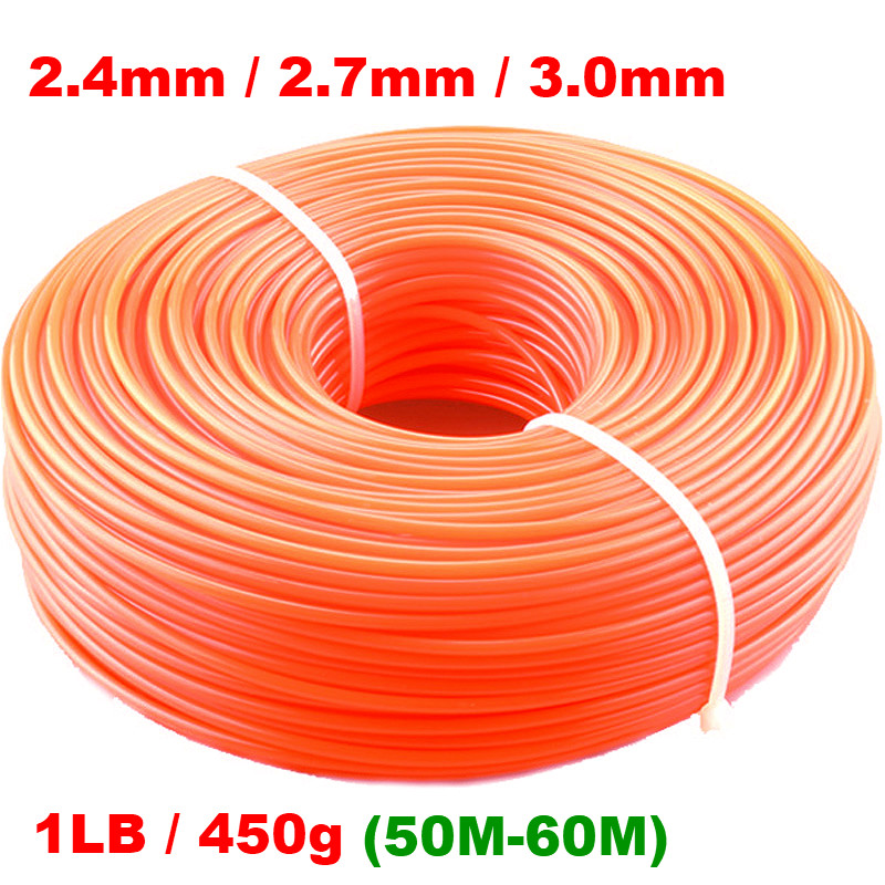 2.4mm/2.7mm/3mm 450g Grass Trimmer Line Strimmer Brushcutter Trimmer Nylon Rope Cord Line Long Round/Square Roll Grass Rope Line