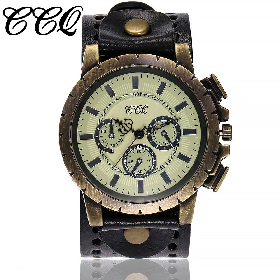 CCQ Brand Vintage Cow Leather Bracelet Men WristWatch Casual Luxury Quartz Watch Relogio Masculino Clock Hours