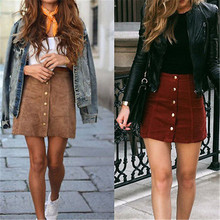 Women Casual Skirts High Waist Lace Up Suede Leather Pocket Mini Skirt A-Line 90's Vintage Short Skirt With Button yellow suede studded mini skirt