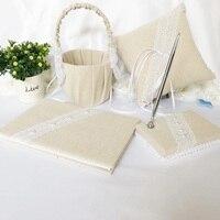 5Pcs/set Wedding Ring Pillow Flower Girl Basket Guest Book Silver Pen And Pen Holder Romantic Wedding Decorations Accessories