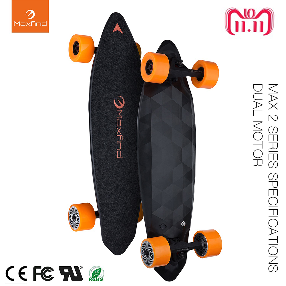 Maxfind All Wheel Electric Skateboard Max 2, Drahtlose Fernbedienung Electric Skateboard Longboard Hoverboard Unicycle