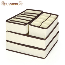 Bielizna pudełko do przechowywania biustonoszy ubrania organizator krawaty pudełka skarpetki przegroda szuflady z pokrywką szafa biustonosz kalesony pojemnik do przechowywania tanie tanio OUSSIRRO Włókniny tkaniny