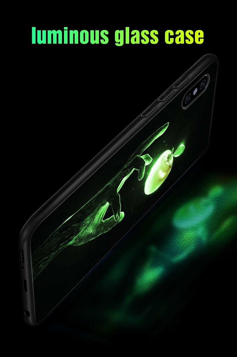 Luminous Case For iPhone X XS MAX Case For iPhone 7 6 s 8 Plus X 10 Luxury PC+Tempered Glass Pattern Silicone Edge Cover (25)